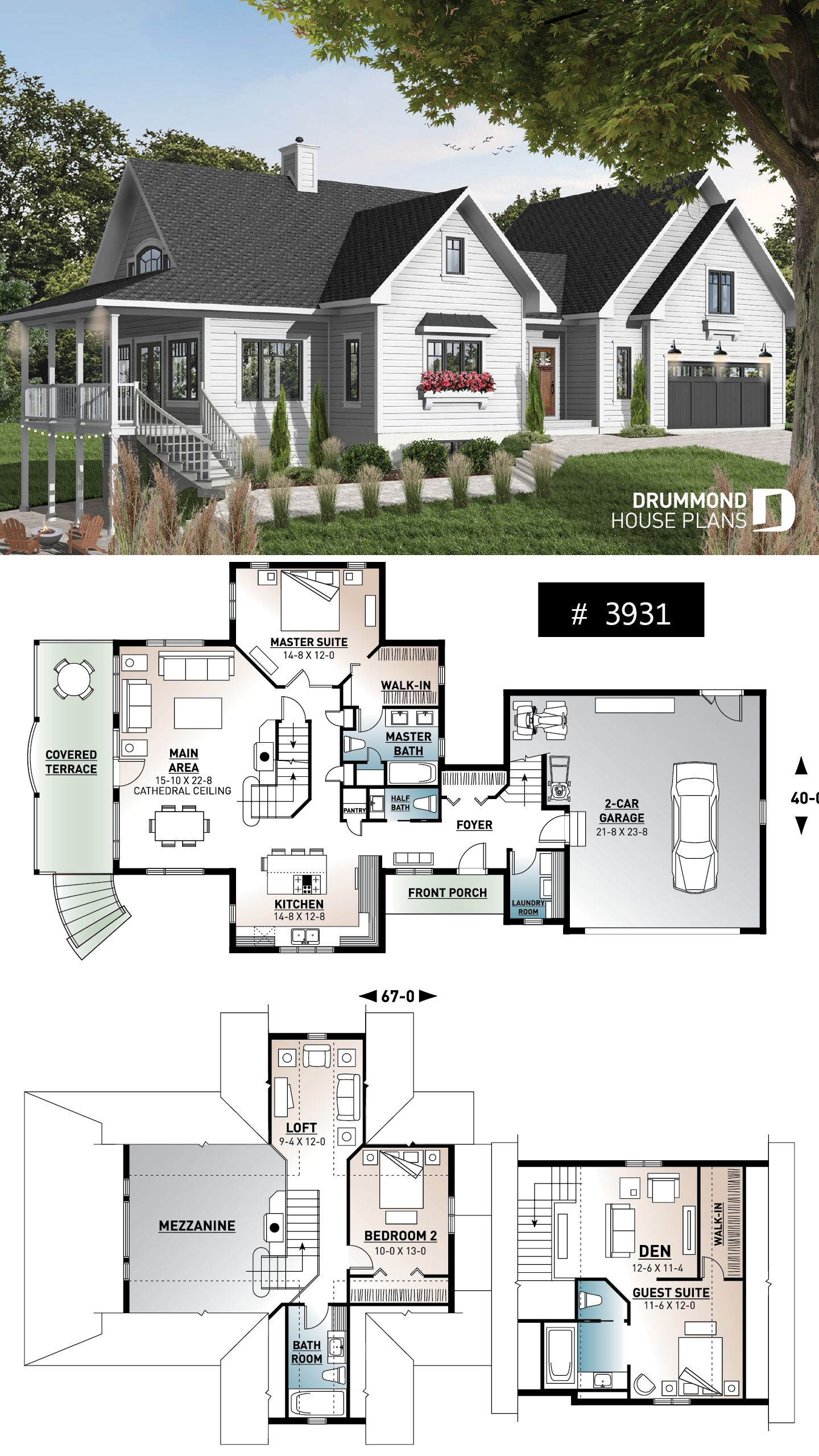 Discover The Plan 3931 The Thatchery Which Will Please You For Its 3 4 Bedrooms And For Its Country Styles House Plans Cottage House Plans Cabin House Plans
