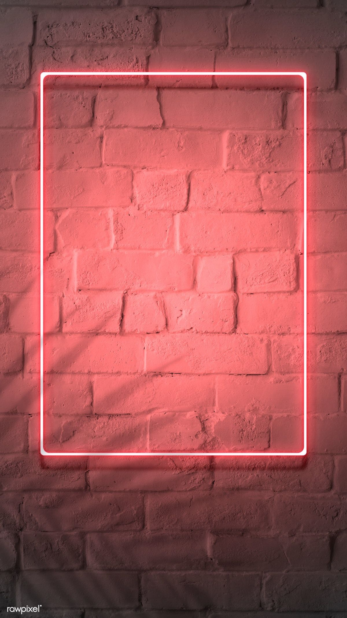 Download premium image of Neon red frame on a brick wall 894328