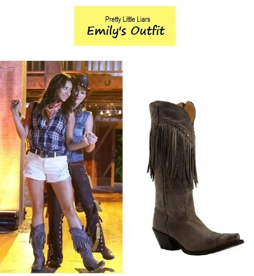4fd10dab263 On the blog - Emily s (Shay Mitchell) fringe cowboy boots