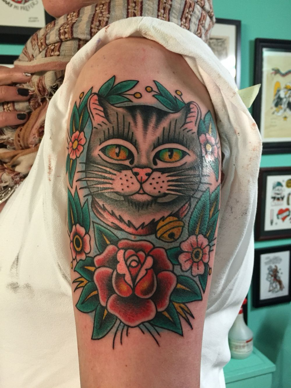 cat tattoo- done by uptowndanny