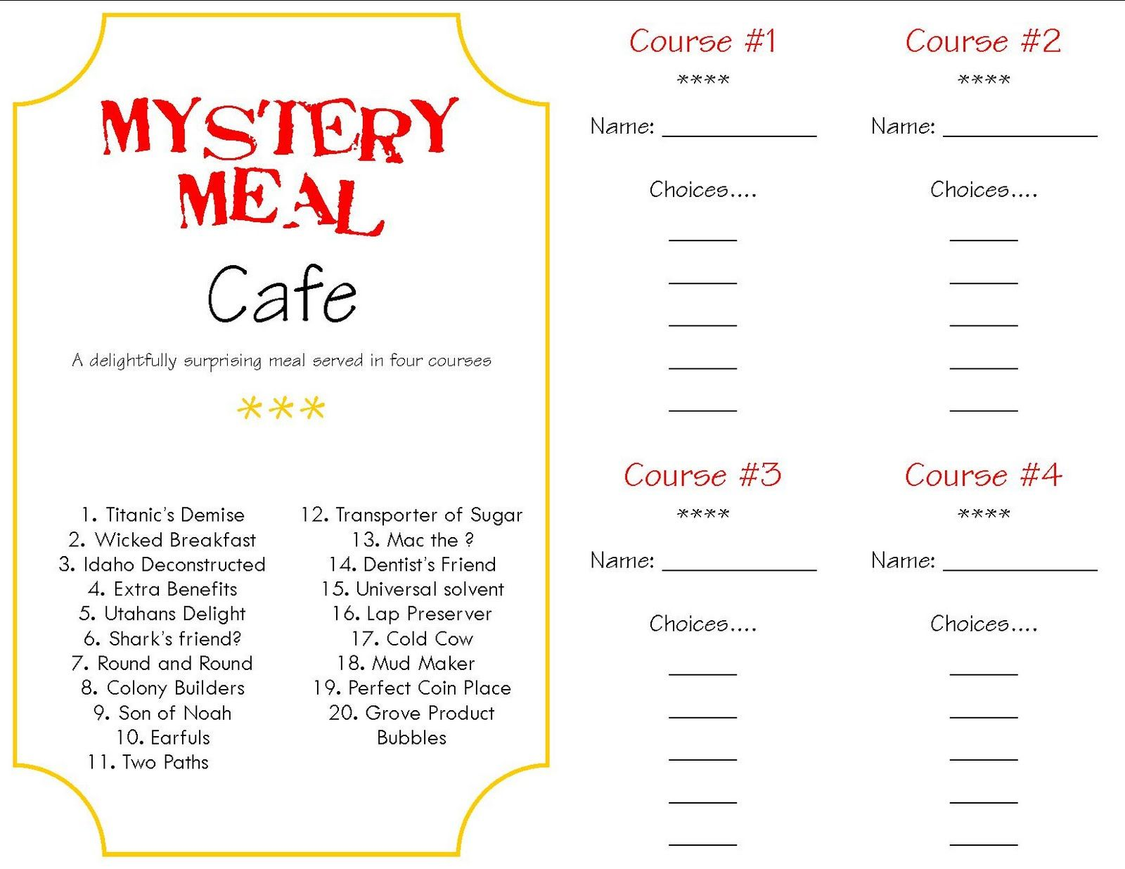 Dinner Party Menu Ideas For 6 Part - 34: Mystery Dinner Menus | Make A Memory {Mystery Dinner}