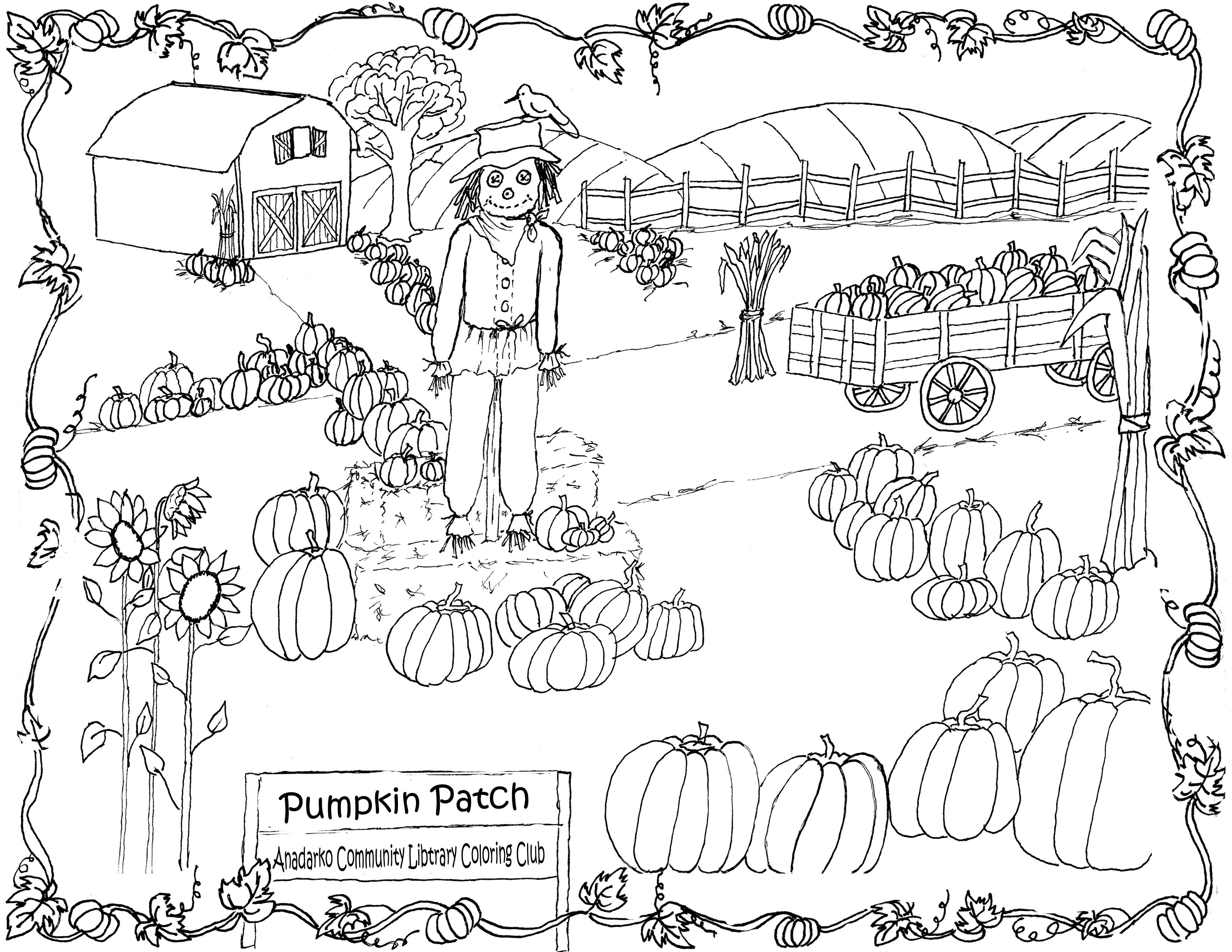 Pumpkin Patch Halloween Coloring Pages Fall Coloring Pages