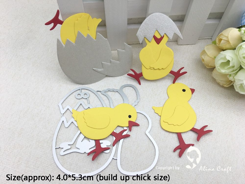 4 x BABY CHICK EMBELLISHMENTS DIE CUTS SCRAPBOOKING EASTER EGGS CHICKEN