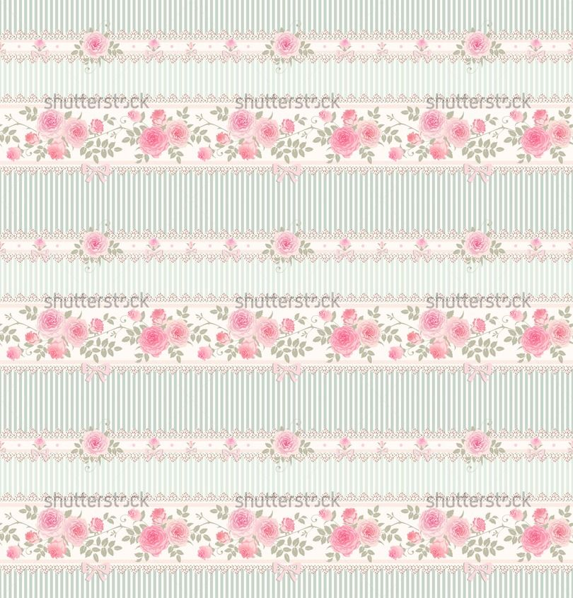 Seamless Floral Background Vector Striped Pattern With Lace Bows