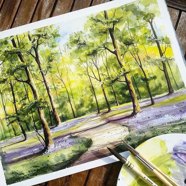 Tree Painting With Good Light Shadows And Depth Udivitelnye Risunki Pejzazhi Plener