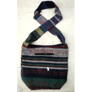 (SKU no: bags_seb211) Cotton Canvas Handcrafted OM NAMAH SHIVAY Stripes Design Indian Yoga Sling Cross Body Bag, Krishna Mart India
