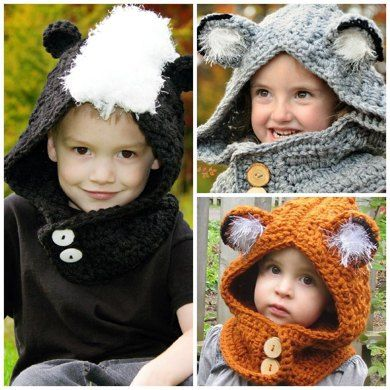 WOODLAND FRIENDS HOODED COWLThis cowl is an adorable way to keep your head and…