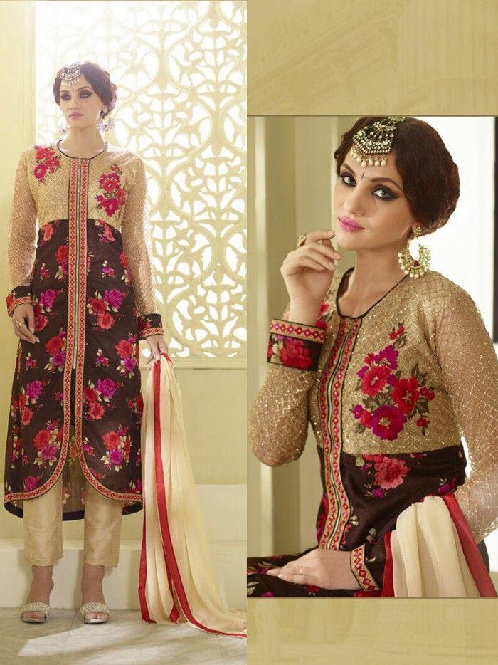 518093b1e4 Brown Georgette Narrow Pant Suit with Dupatta - #Designer-Salwar-Kameez