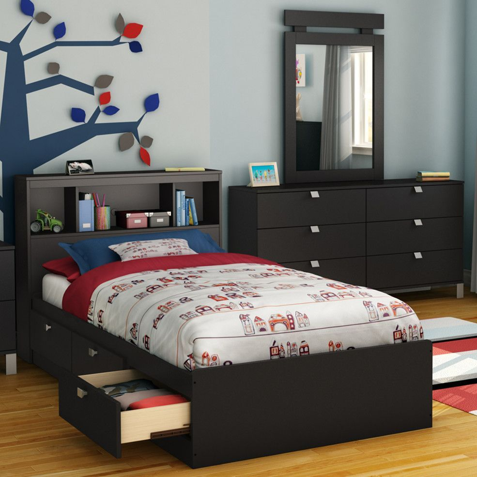 South Shore Spark Twin Mate's Bed with Drawers and