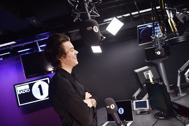 Harry Styles at BBC Radio 1 with Nick Grimshaw
