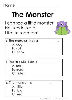 kindergarten reading comprehension passages questions guided reading level c school. Black Bedroom Furniture Sets. Home Design Ideas