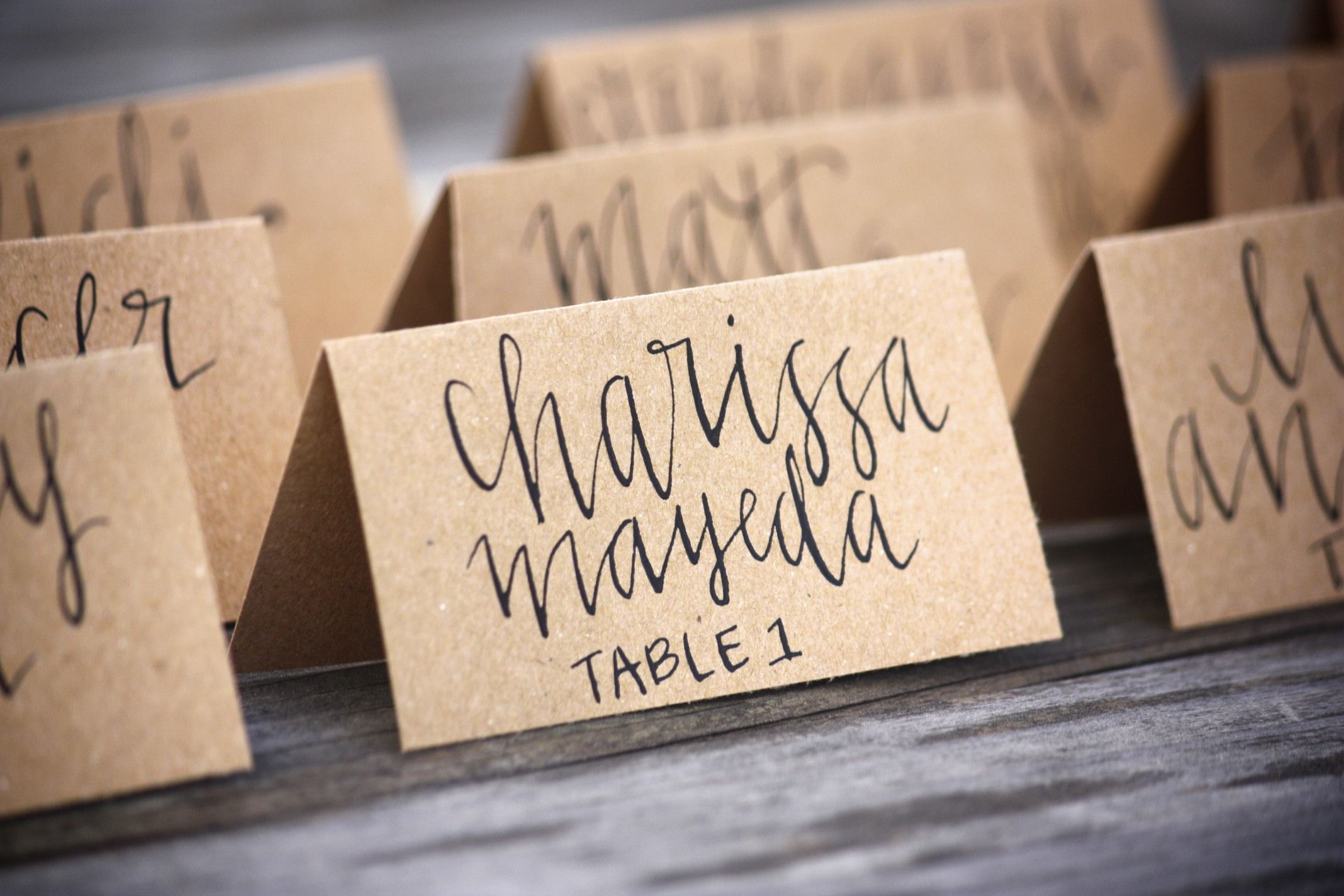Charming Dinner Party Name Ideas Part - 6: Wedding Place Cards - Tent Fold - Escort Card - Black Calligraphy With  Kraft Paper - Bride Groom - Dinner Party - Name Tag