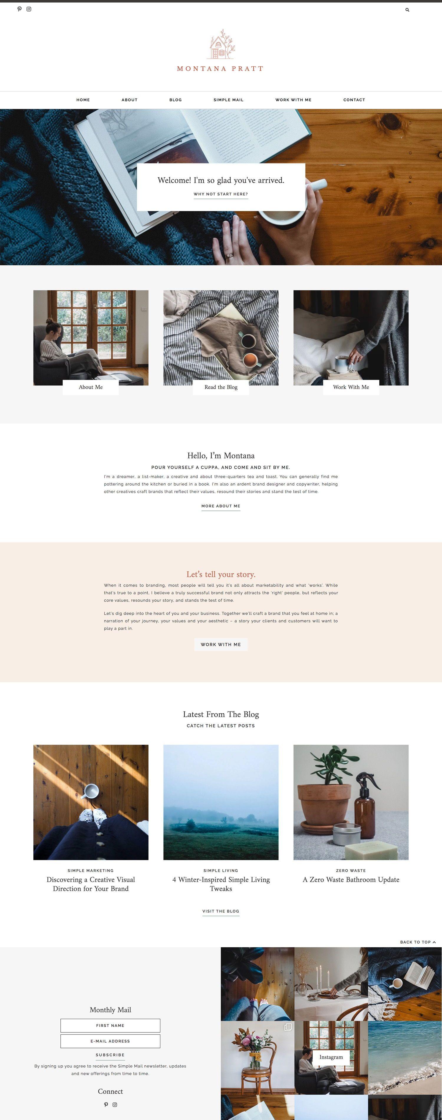 Montana Pratt Is A Brand Designer That Helps Business Owners Craft A Brand That Website Design Inspiration Business Wordpress Website Design Squarespace Design