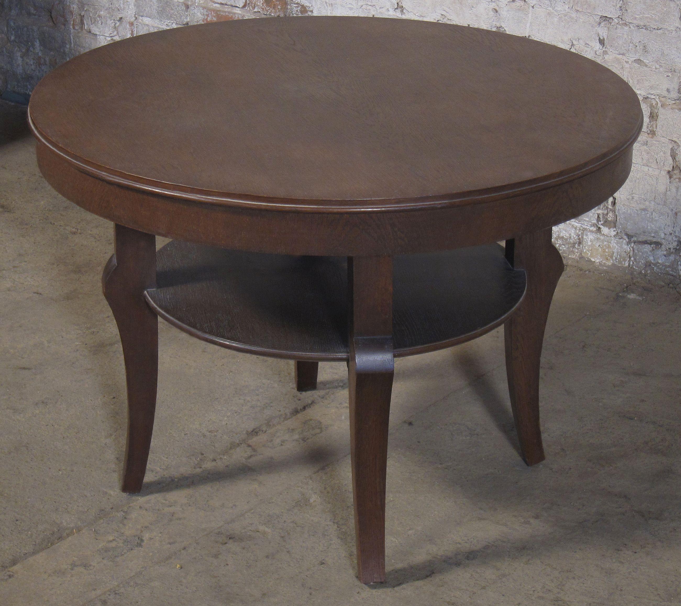 Runder Tisch Mit Ablage Epoche Art Deco Holzart Eiche Masse Durchmesser 100 Cm Hohe 72 Cm Kennung Nr 138 Tisch Antik Sofa Tisch Tisch