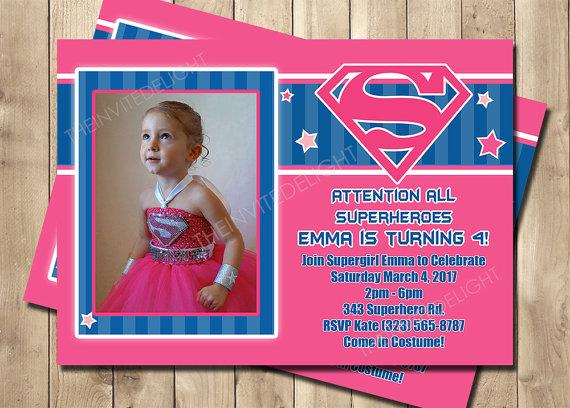 Supergirl Birthday Invitation