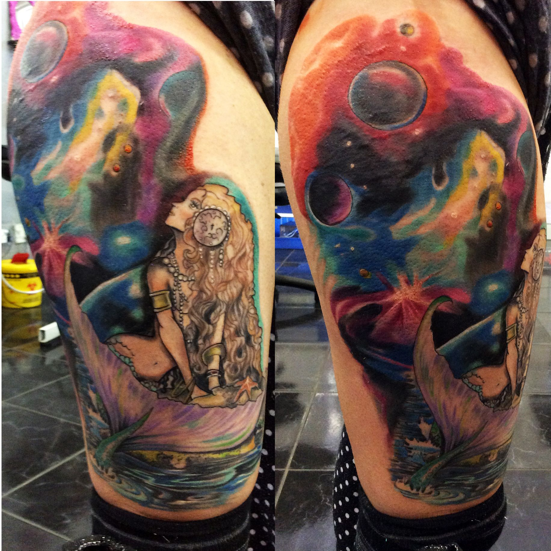 Henna Tattoo In Johannesburg: Galaxy Mermaid Tattoo By Angelo. Rising Dragon Tattoo