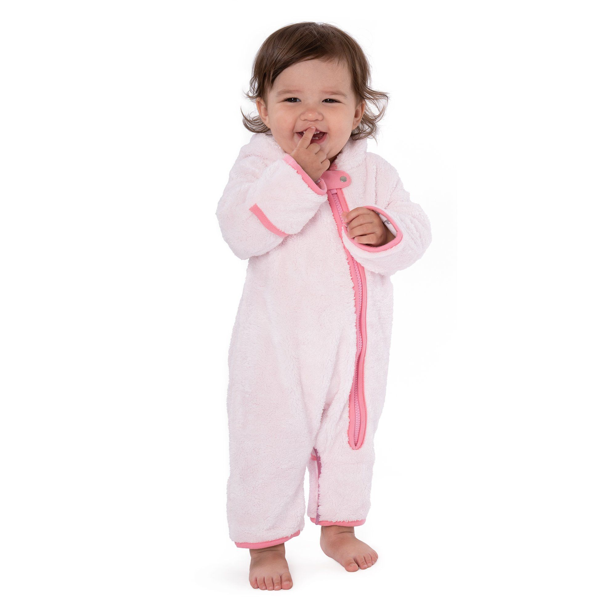 Furry bear buntings - 3-6 Months / Pink