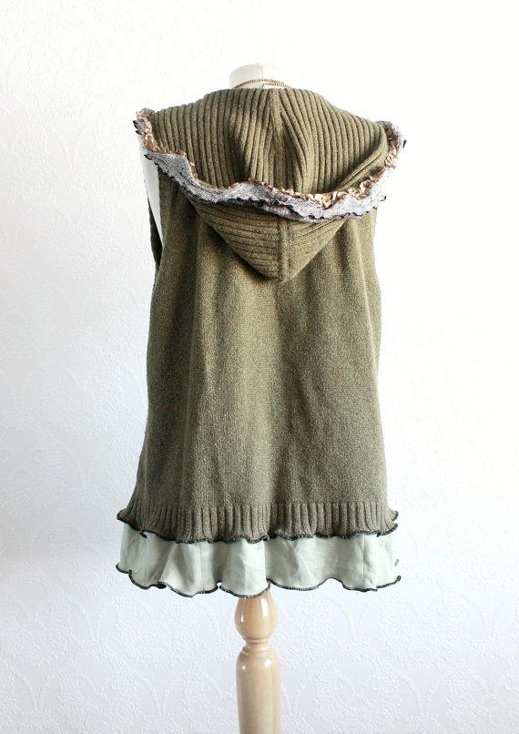 Olive Green Sweater Vest Hooded Cardigan by BrokenGhostClothing