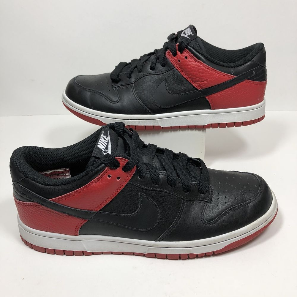 reputable site f13e7 e0137 Nike Dunk Low Mens Sneakers Size 8.5 Black Red Bred ...