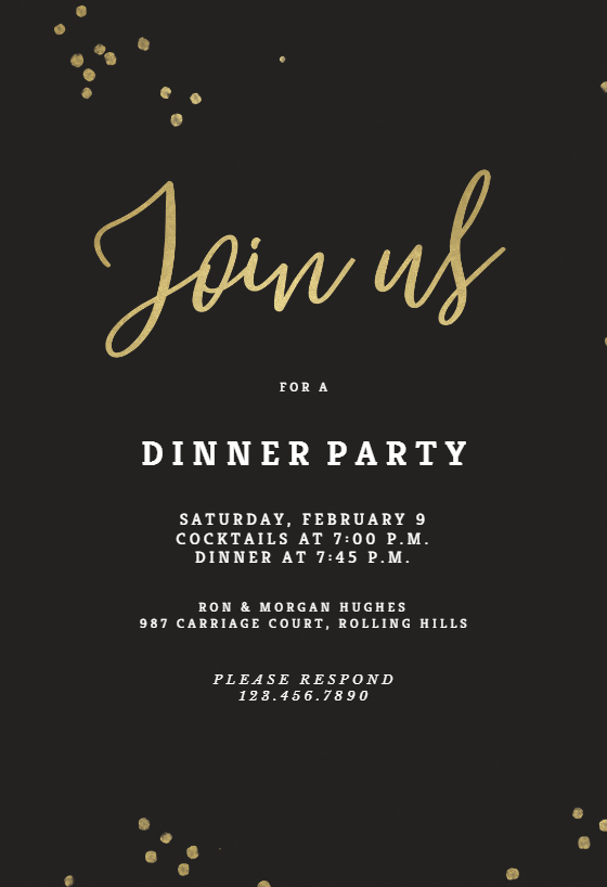 Minimal Confetti Dinner Party Invitation Template Free Greetings Island Dinner Party Invitations Party Invitations Diy Party Invite Template