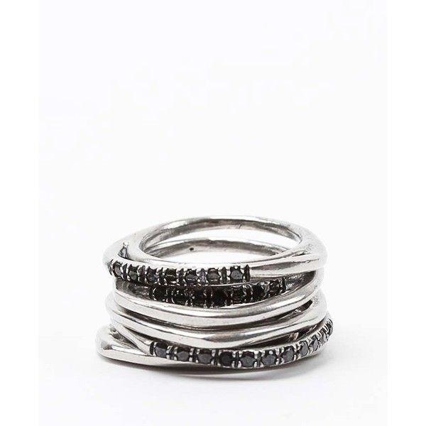 Iosselliani Set of 5 Silver Rings w/ Black Rhinestones ($300) found on Polyvore