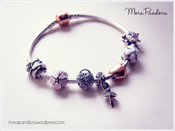 Pandora Rose bracelet with the new Floral Heart Padlock and Ballerina charms :)