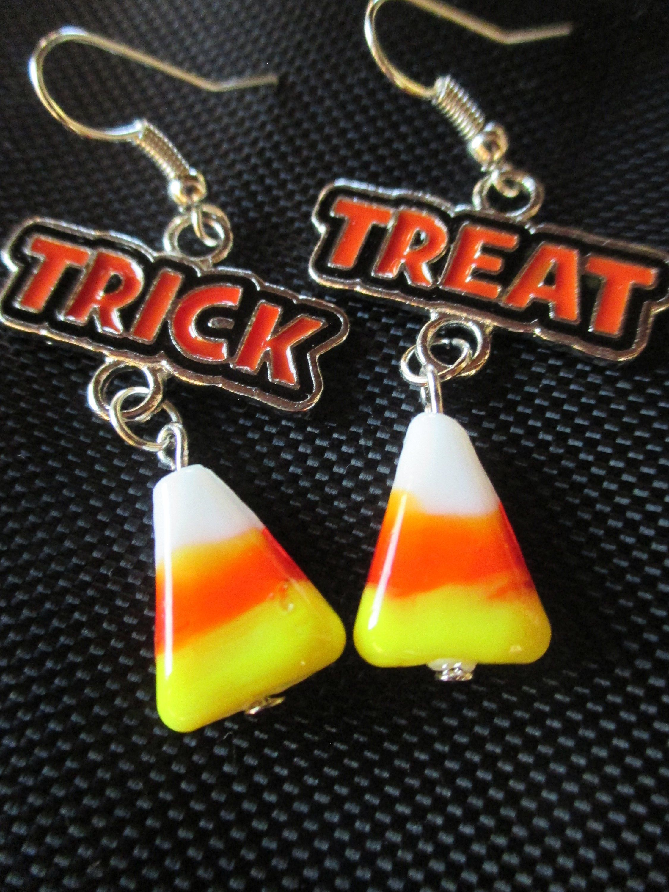 672914a6a Trick or Treat Halloween Candy Corn Earrings, Dangle Halloween earrings,  Halloween Trick Treat Jewelry, Fun halloween earrings, Candy corn
