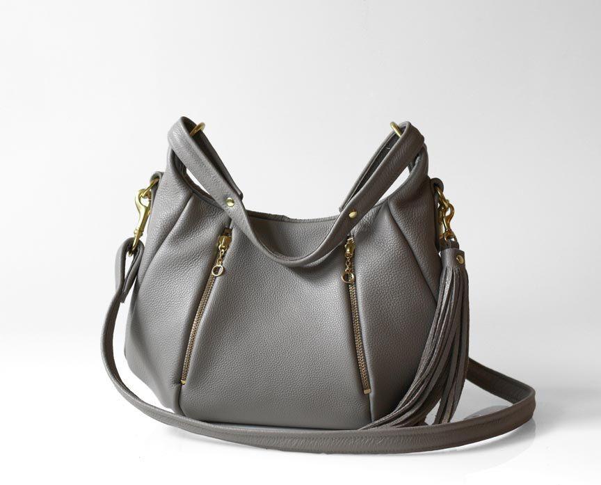 Gray Leather Handbag Opelle Baby Ballet Bag Pebbled Purse W Zipper Pockets In Dove 258 Via Etsy