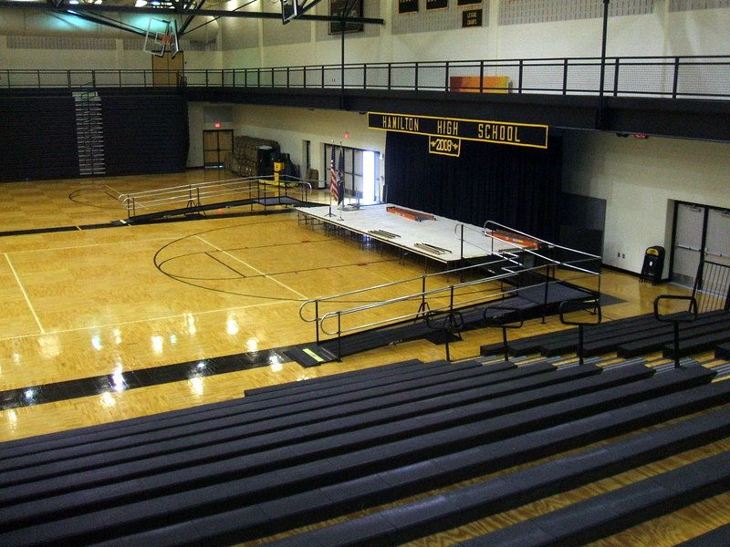 Amramp Western Michigan enables Hamilton Community Schools to hold its high school graduation in the gym with this wheelchair ramp they rented just for the day.