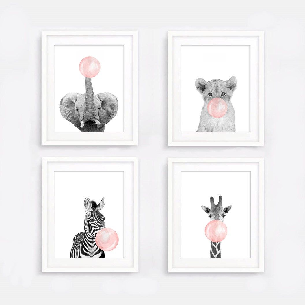 Set Of 4 Nursery Decor Pink Bubble Gum Safari Animals Posters Black White Giraffe Zebra Children Room Decor Cute Animal Wall Art Printable Pink Nursery Decor Animal Wall Art Baby Animal