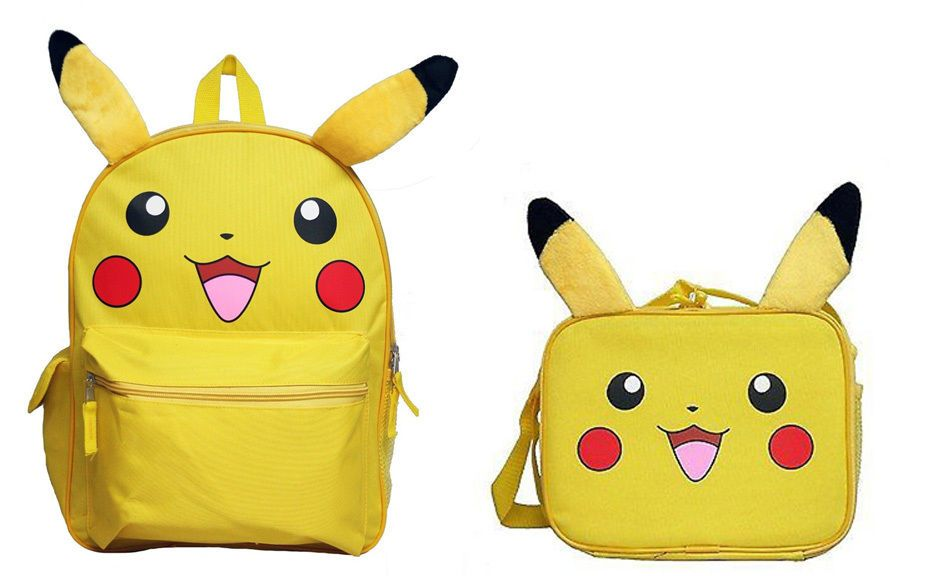 2pc Nintendo Pokemon Pikachu YELLOW 3D EARS Backpack and Lunch Box Lunchbox  12