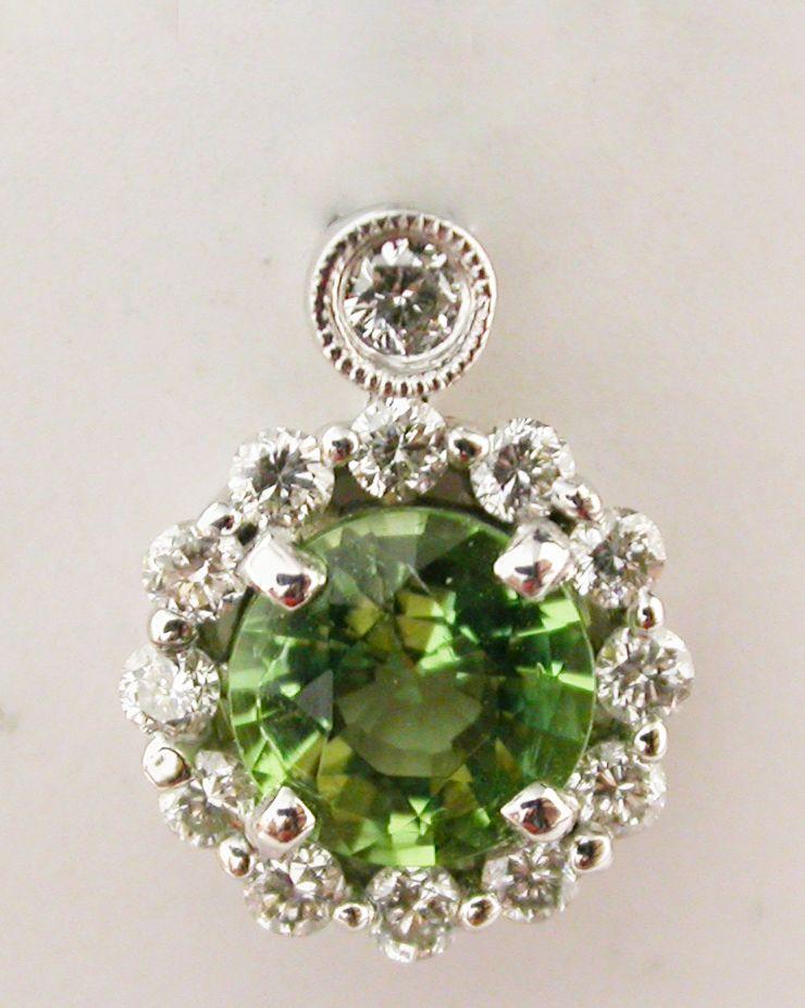 Green Tourmaline and Diamond Pendant at @LarcJewelers #larcjewelers