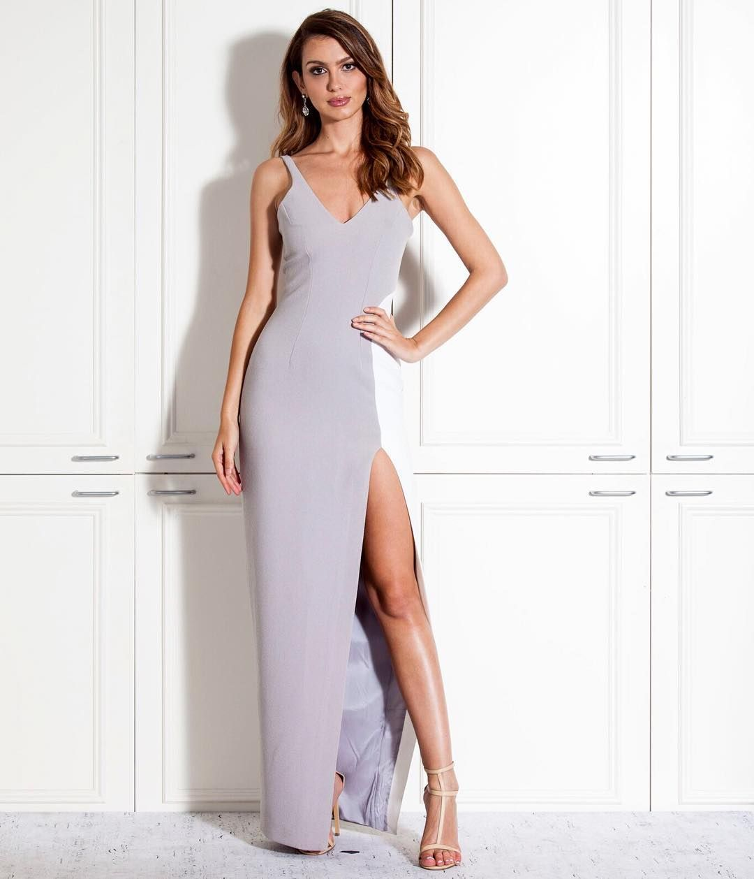 The Marble Tones Slice Dress by By Johnny #whiterunway #weddingfash #bridesmaids #eveningwear #formals