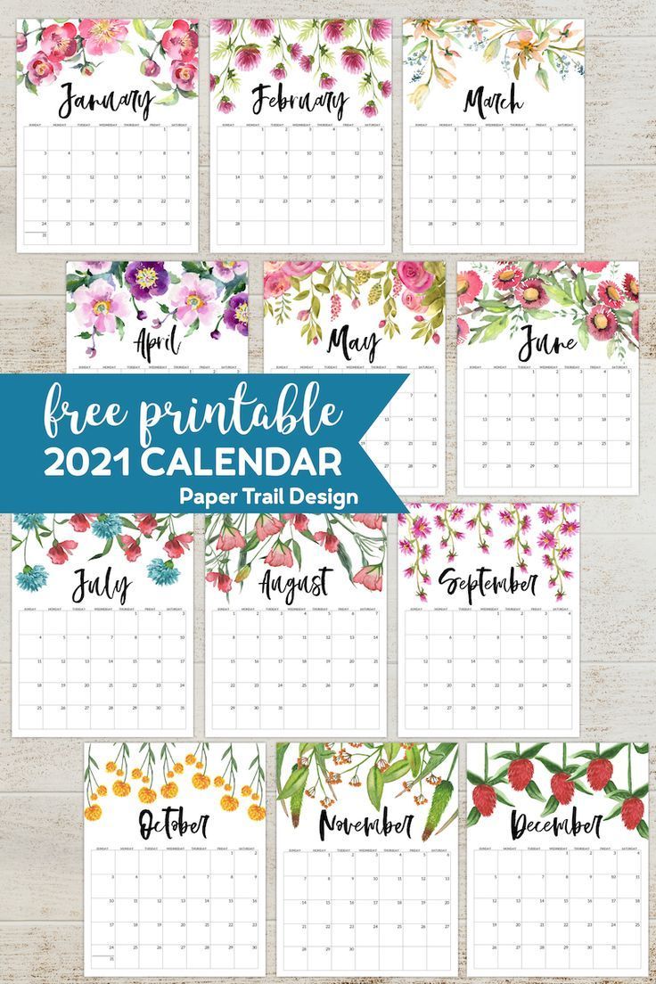 Free Printable 2021 Floral Calendar | Paper Trail Design in 2020