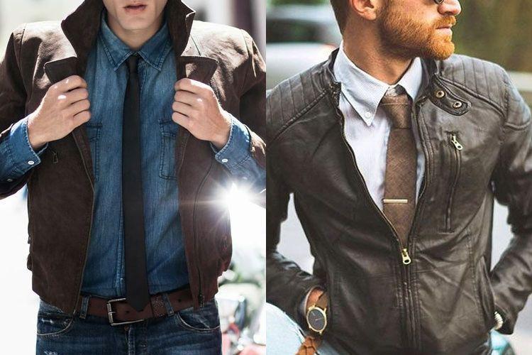 7f1814c52 Que tal trocar o blazer por uma jaqueta de couro? E, sim, pode colocar uma  gravata junto. Olha só como o look fica estiloso e moderno.