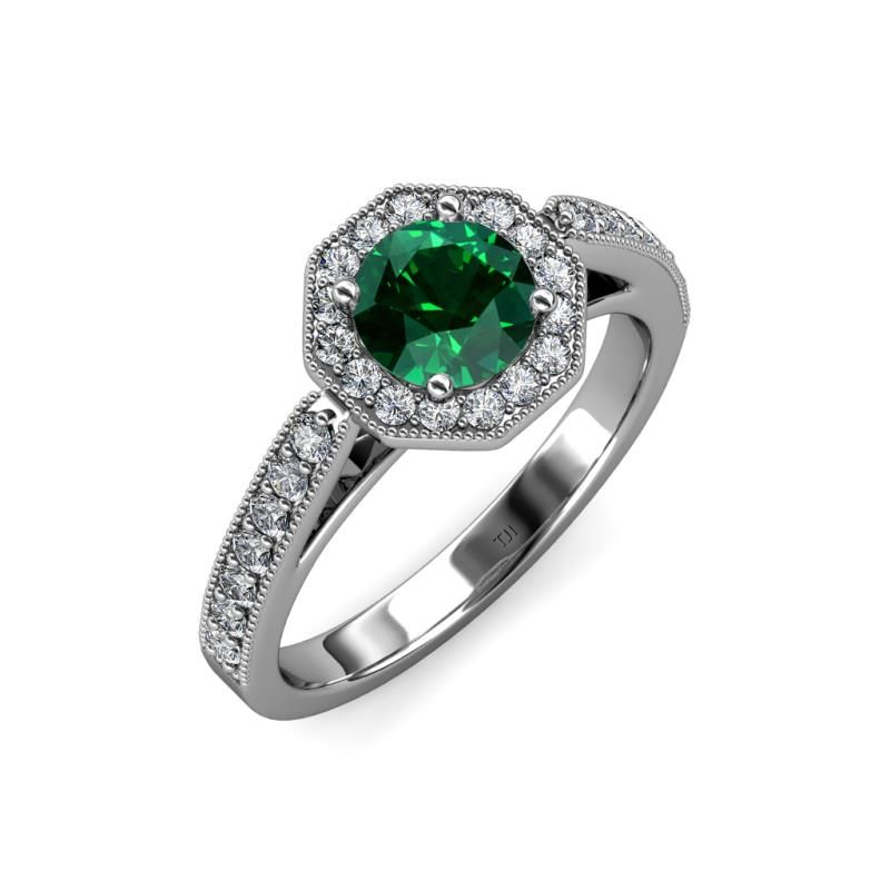 Let this enchanting Engagement Ring put your Love into words with Octagon Halo Frame of Diamonds bringing life to the Center Emerald enhancing its beauty with milgrain work on the edges.