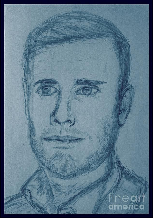 Pencil Sketch Of Gary Barlow In Blue Tones Greeting Card For By Joan Violet Stretch