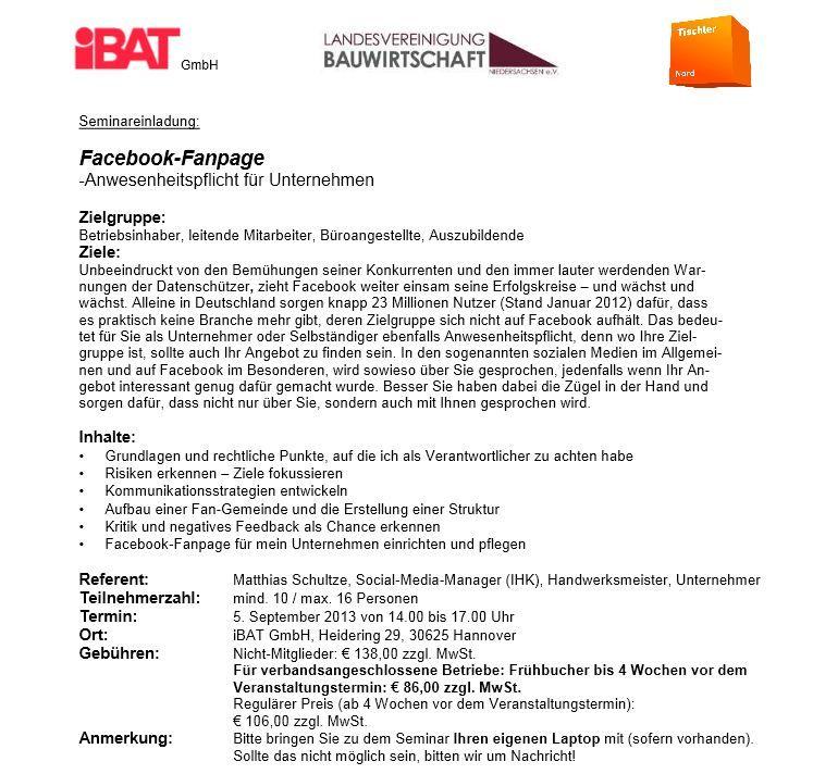 Tischler Nord Facebook Seminar Hannover. Referent: Matthias Schultze, Social-Media-Manager (IHK)
