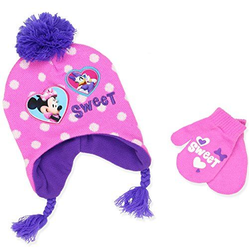 Disney Minnie Mouse Girls Beanie Hat and Mittens Set  67781f7a9c8e