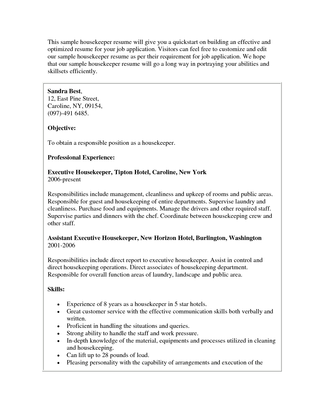 Housekeeper Sample Housekeeping Resume Cover Letter Job  Housekeeping Sample Resume