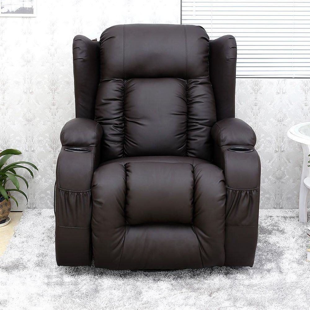 Electric Heated Massage Chair Leather Gaming Recliner