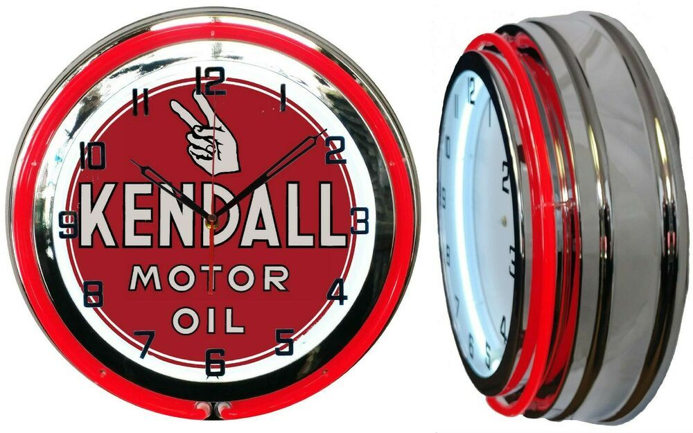 """Kendall Motor Oil 19/"""" Double Neon Clock Red Neon Chrome Man Cave Garage Gas Oil"""
