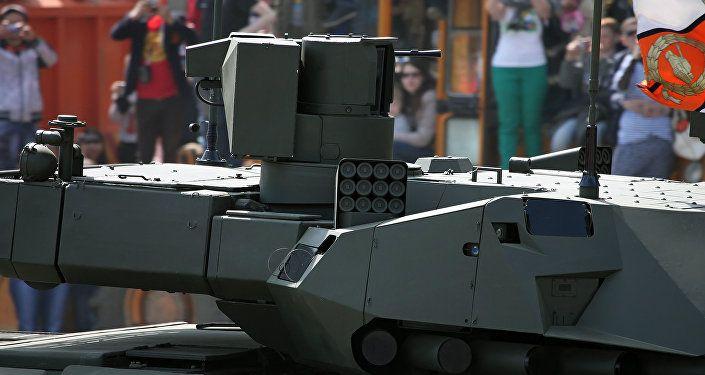 Close-up of the turret with its sensor and machine gun platform. ARMATA