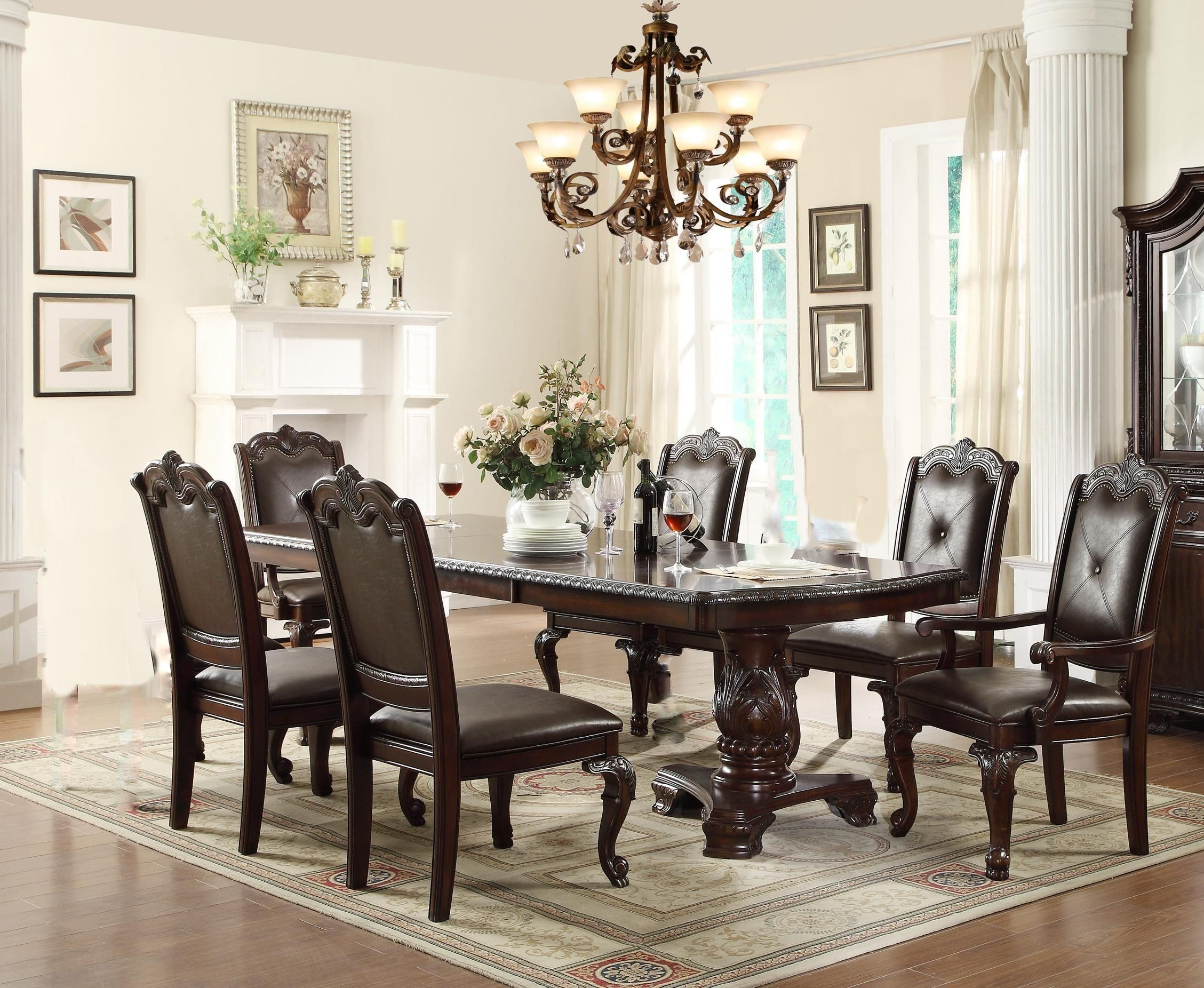 Kiera 7 Pc Dining Table and Chair by Crown Mark