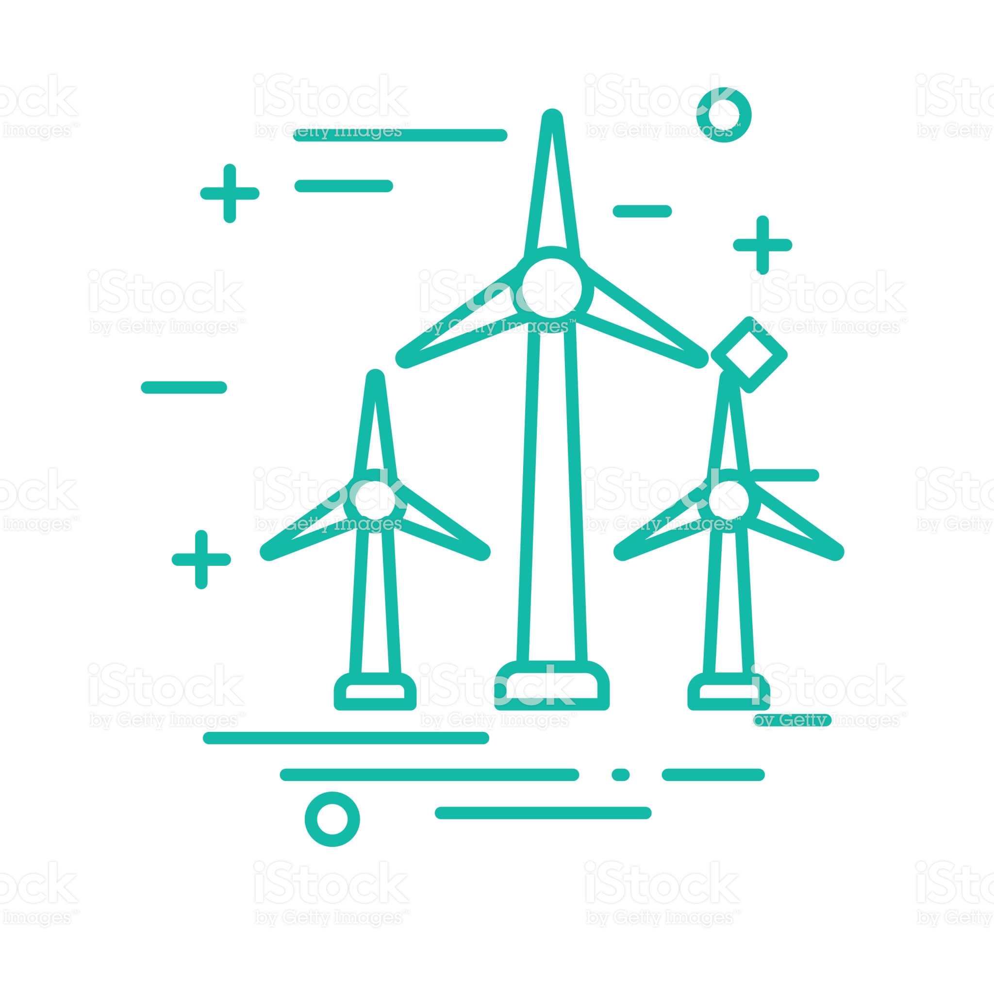 Wind Turbine Environment Icon In Thin Line Flat Design Style Line Icon Wind Thin Line