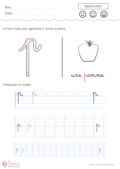 Assez Apprendre à écrire l'alphabet en minuscule à imprimer: Feuille d  VF26