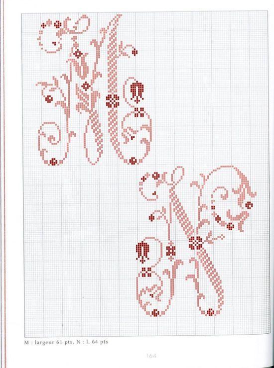 95 belles lettres au point de croix - Grille point de croix lettre ...