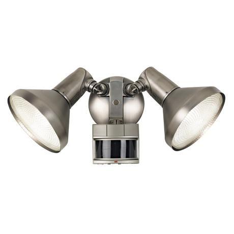 Two Light Brushed Nickel Finish Spotlight Motion Sensor