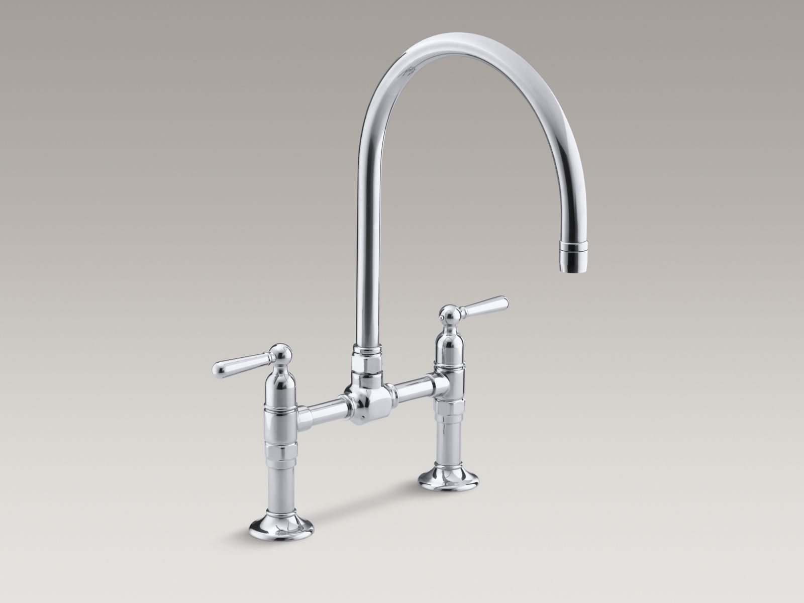 Kohler HiRise Two Hole Deck Mount Bridge Kitchen Faucet With Gooseneck  Spout And Lever Handles Polished Stainless ** You Will Find Great Deals At  Standard ...