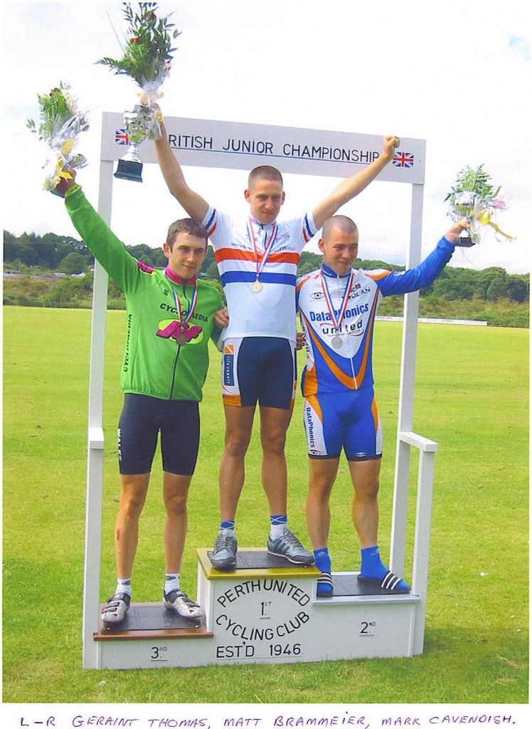 Geraint Thomas, Matthew Brammeier and Mark Cavendish at the British Junior Championships 2003